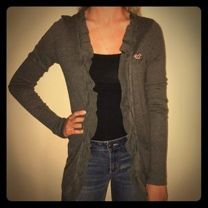 Gray open cardigan with ruffles in front parts